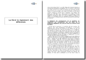 Cour Internationale de Justice, 11 juin 1998 - le réglement des différends