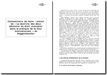 Extrait de « La doctrine des deux éléments du droit coutumier dans la pratique de la Cour internationale » de Haggenmacher