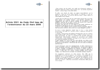 Article 2321 du Code Civil issu de l'ordonnance du 23 mars 2006 - la garantie autonome