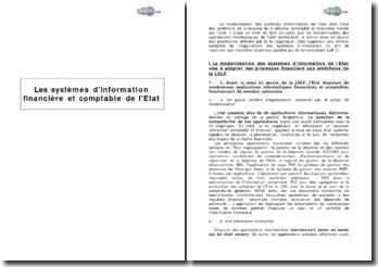 Les systèmes d'information financière et comptable de l'Etat