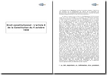 Article 8 de la Constitution du 4 octobre 1958 : les relations entre le président et le gouvernement