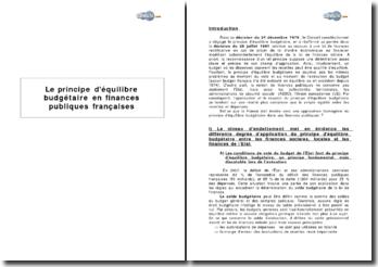 Le principe d'équilibre budgétaire en finances publiques françaises