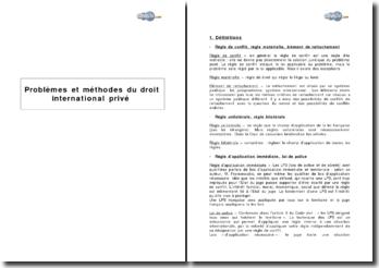 Problèmes et méthodes du droit international privé : définitions et cas pratiques