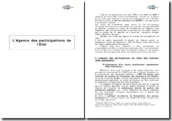 L'Agence des participations de l'Etat (APE)