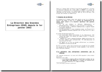 La Direction des Grandes Entreprises (DGE) depuis le 1er janvier 2002