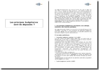 Les principes budgétaires de l'Etat sont-ils dépassés ?