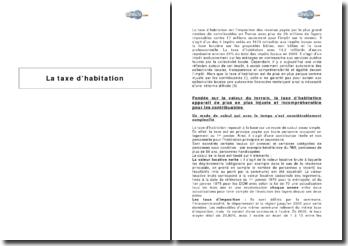 Synthèse sur la taxe d'habitation
