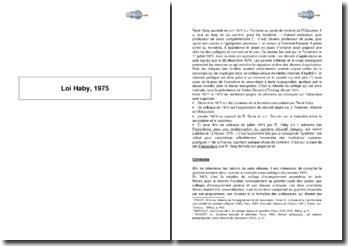 Loi Haby, 1975 : le collège unique