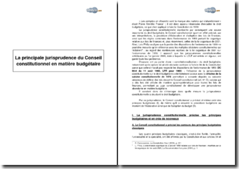 Les principales jurisprudences du Conseil constitutionnel en matière budgétaire