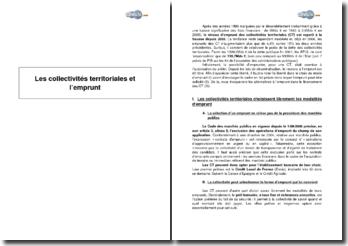 Les collectivités territoriales et l'emprunt