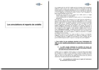 Les annulations et reports de crédits dans le budget de l'Etat