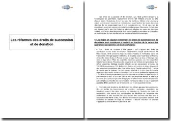 Les réformes des droits de succession et de donation