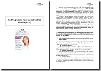 Le Programme Pour Vous Faciliter l'Impôt (PVFI)