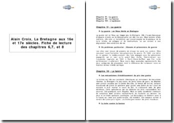 Alain Croix, La Bretagne aux 16e et 17e siècles, étude des chapitres 6,7, et 8
