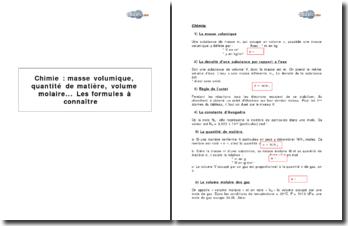 Chimie : masse volumique, quantité de matière, volume molaire... Les formules à connaître