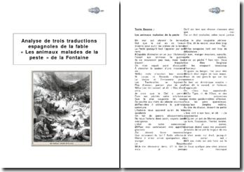 Analyse de trois traductions espagnoles de la fable « Les animaux malades de la peste » de la Fontaine
