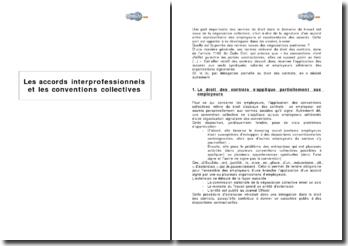 Les accords interprofessionnels et les conventions collectives