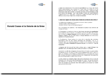 Ronald Coase et la théorie de la firme