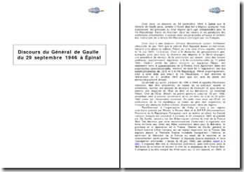 Discours du Général de Gaulle du 29 septembre 1946 à Epinal