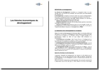 Les théories économiques du développement