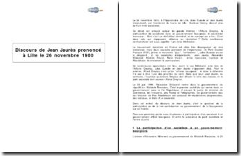 Discours de Jean Jaurès prononcé à Lille le 26 novembre 1900