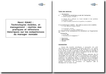 Henri Isaac : Technologies mobiles et management : réalités des pratiques et réflexions théoriques sur les compétences du manager nomade