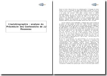 Le pacte autobiographique : analyse du Préambule des Confessions de Jean-Jacques Rousseau