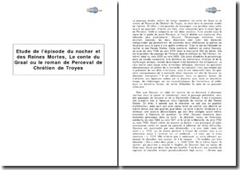 Etude de l'épisode du nocher et des Reines Mortes, in Le conte du Graal ou le roman de Perceval de Chrétien de Troyes