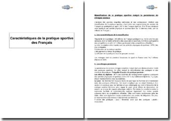 Caractéristiques de la pratique sportive des Français