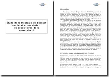 Etude de la théologie de Bossuet sur l'Etat et ses chefs : les dépositaires de la souveraineté
