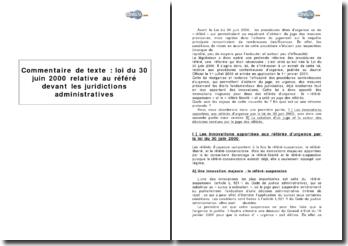 Loi du 30 juin 2000 relative au référé devant les juridictions administratives