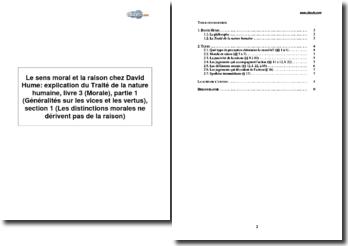 Le sens moral et la raison chez David Hume : explication du Traité de la nature humaine, livre 3 (Morale), partie 1 (Généralités sur les vices et les vertus), section 1 (Les distinctions morales ne dérivent pas de la raison)