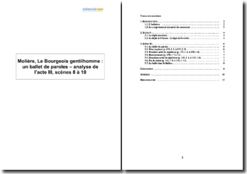 Molière, Le Bourgeois gentilhomme : un ballet de paroles - analyse de l'acte III, scènes 8 à 10