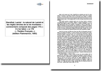 Stendhal, Lamiel : le naturel de Lamiel et les règles strictes de la vie mondaine - analyse des pages 175 (« Il n'en fallut ») à 178 (« Théâtre français ») (édition Flammarion, 1993)