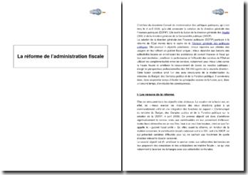 La réforme de l'administration fiscale (2008)