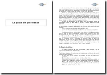 Nature juridique et efficacité du pacte de préférence