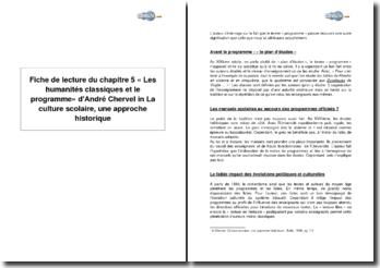 Chapitre 5 « Les humanités classiques et le programme » d'André Chervel in La culture scolaire, une approche historique