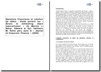 Décisions financières et création de valeur : étude portant sur « Errors in estimating share repurchases » de Monica Banyi, Edward Dyl, Kathleen Kahle paru dans le « Journal of Corporate Finance » (2008)