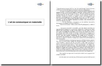 L'art de communiquer en maternelle, d'après un corpus de trois textes