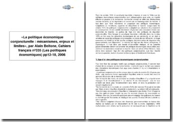 « La politique économique conjoncturelle : mécanismes, enjeux et limites », par Alain Beitone, Cahiers français nº335 (Les politiques économiques) pp12-18, 2006