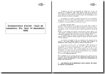 Chambre civile de la Cour de cassation, 14 décembre 1999 - contrat de vente et contrat d'entreprise