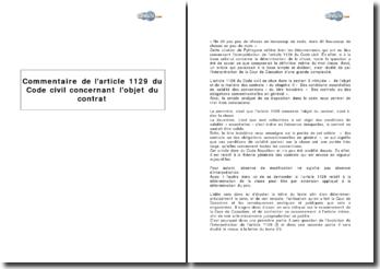 Article 1129 du Code civil concernant l'objet du contrat