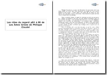Les rôles du regard : p 84 à 86 de Les Âmes Grises de Philippe Claudel