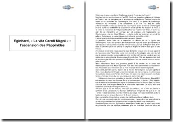 Eginhard, extrait de « La vita Caroli Magni » : l'ascension des Péppinides