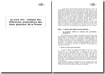 Le Livre vert : analyse des différentes propositions des états généraux de la Presse