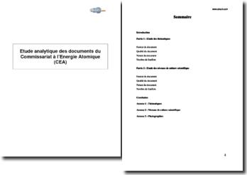 Etude analytique des documents de communication du Commissariat à l'Energie Atomique (CEA)
