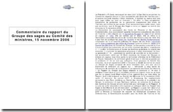 Rapport du Groupe des sages au Comité des ministres sur l'efficacité du mécanisme de contrôle de la Convention Européenne des droits de l'homme, 15 novembre 2006