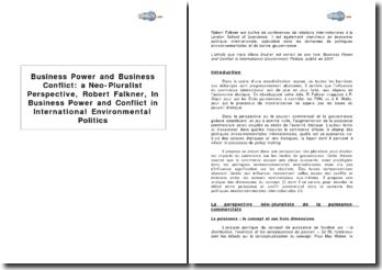 Puissance et conflit commerciaux : une approche néo-pluraliste, par Robert Falkner, extrait de : Puissance et conflit commerciaux dans les politiques environnementales internationales