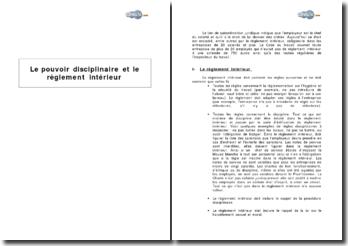 Le pouvoir disciplinaire et le règlement intérieur