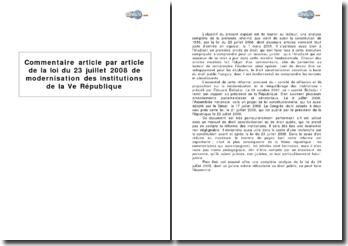 Analyse article par article de la loi du 23 juillet 2008 de modernisation des institutions de la Ve République